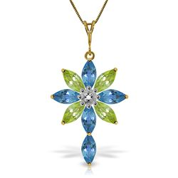 ALARRI 2 CTW 14K Solid Gold Necklace Diamond, Blue Topaz Peridot