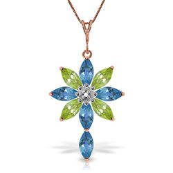 ALARRI 14K Solid Rose Gold Necklace w/ Diamond, Blue Topaz & Peridots