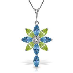 ALARRI 2 Carat 14K Solid White Gold Necklace Diamond, Blue Topaz Peridot
