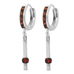 ALARRI 1.35 Carat 14K Solid White Gold Never Bleary Garnet Earrings
