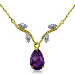ALARRI 1.52 Carat 14K Solid Gold Crave And Have Amethyst Diamond Necklace