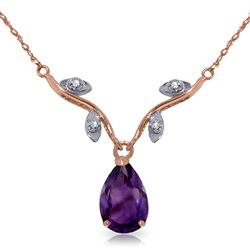 ALARRI 14K Solid Rose Gold Necklace w/ Natural Diamonds & Purple Amethyst