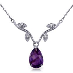 ALARRI 1.52 Carat 14K Solid White Gold She Holds Me Amethyst Diamond Necklace