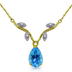 ALARRI 1.52 Carat 14K Solid Gold Love Under The Stars Blue Topaz Necklace