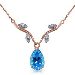 ALARRI 1.52 Carat 14K Solid Rose Gold New Romance Blue Topaz Necklace