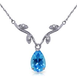 ALARRI 1.52 Carat 14K Solid White Gold Port In A Storm Blue Topaz Diamond Necklace