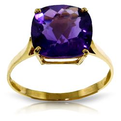 ALARRI 3.6 Carat 14K Solid Gold Ring Natural Checkerboard Cut Purple Amethyst