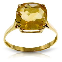 ALARRI 3.6 CTW 14K Solid Gold Ring Natural Checkerboard Cut Citrine