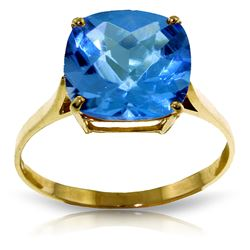 ALARRI 3.6 Carat 14K Solid Gold Ring Natural Checkerboard Cut Blue Topaz
