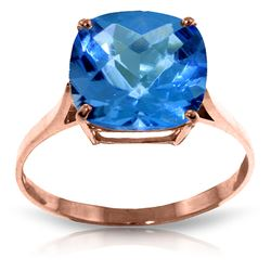 ALARRI 3.6 Carat 14K Solid Rose Gold Ring Natural Checkerboard Cut Blue Topaz