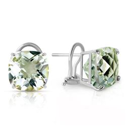 ALARRI 7.2 Carat 14K Solid White Gold French Clips Earrings Green Amethyst