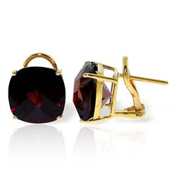 ALARRI 9 Carat 14K Solid Gold French Clips Earrings Checkerboard Garnet