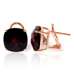ALARRI 9 Carat 14K Solid Rose Gold French Clips Earrings Checkerboard Garnet