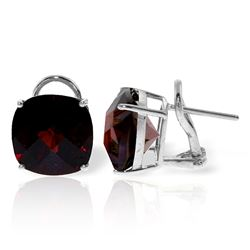 ALARRI 9 Carat 14K Solid White Gold French Clips Earrings Checkerboard Garnet