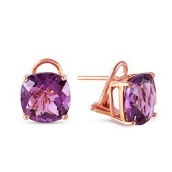 ALARRI 7.2 Carat 14K Solid Rose Gold Cushion Amethyst Earrings