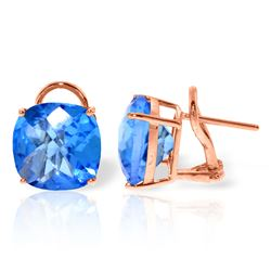 ALARRI 7.2 CTW 14K Solid Rose Gold Cushion Blue Topaz Earrings
