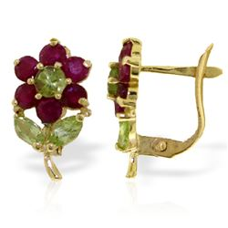 ALARRI 2.12 Carat 14K Solid Gold Flowers Stud Earrings Ruby Peridot