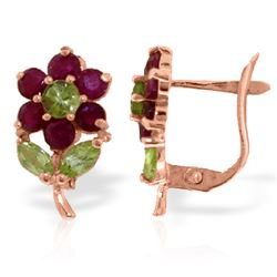 ALARRI 2.12 Carat 14K Solid Rose Gold Flowers Stud Earrings Ruby Peridot