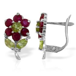 ALARRI 2.12 Carat 14K Solid White Gold Flowers Stud Earrings Ruby Peridot
