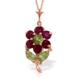 ALARRI 1.06 Carat 14K Solid Rose Gold Flower Necklace Ruby Peridot