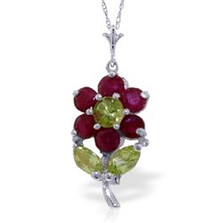 ALARRI 1.06 Carat 14K Solid White Gold Flower Necklace Ruby Peridot