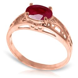 ALARRI 14K Solid Rose Gold Filigree Ring w/ Natural Ruby