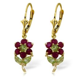 ALARRI 2.12 Carat 14K Solid Gold Flowers Earrings Ruby Peridot