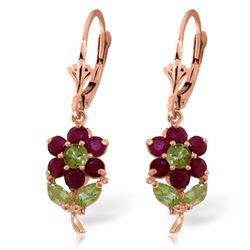 ALARRI 2.12 Carat 14K Solid Rose Gold Flowers Earrings Ruby Peridot