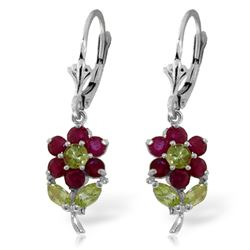 ALARRI 2.12 CTW 14K Solid White Gold Flowers Earrings Ruby Peridot