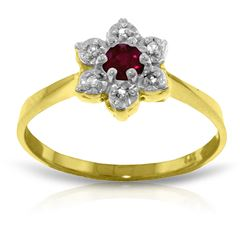 ALARRI 0.23 Carat 14K Solid Gold Half The Solution Ruby Diamond Ring