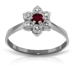 ALARRI 0.23 Carat 14K Solid White Gold Generous Spirit Ruby Diamond Ring