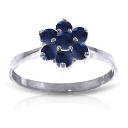 ALARRI 0.66 Carat 14K Solid White Gold Ring Natural Sapphire