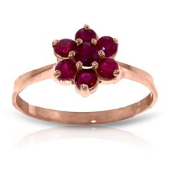 ALARRI 14K Solid Rose Gold Ring w/ Natural Rubies