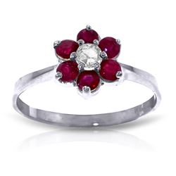 ALARRI 0.5 Carat 14K Solid White Gold Unmindful Presence Ruby Diamond Ring