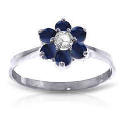 ALARRI 0.5 Carat 14K Solid White Gold Lovingkindness Sapphire Diamond Ring