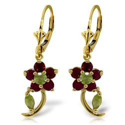 ALARRI 1.72 CTW 14K Solid Gold Flora Ruby Peridot Earrings