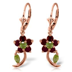 ALARRI 1.72 Carat 14K Solid Rose Gold Flower Drop Ruby Peridot Earrings