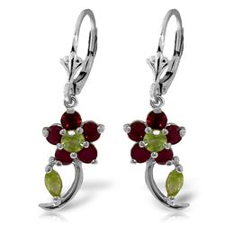 ALARRI 1.72 Carat 14K Solid White Gold Rise To Fame Ruby Peridot Earrings