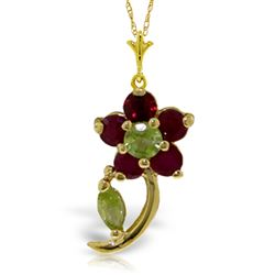 ALARRI 0.87 Carat 14K Solid Gold Flora Ruby Peridot Necklace