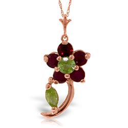 ALARRI 0.87 Carat 14K Solid Rose Gold Flower Stem Ruby Peridot Necklace