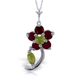 ALARRI 0.87 Carat 14K Solid White Gold Take Part Ruby Peridot Necklace