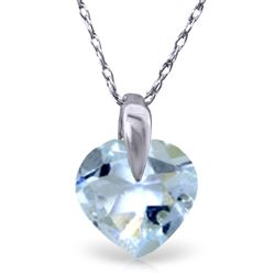 ALARRI 1.15 CTW 14K Solid White Gold No Substitutes Aquamarine Necklace
