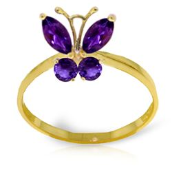 ALARRI 0.6 Carat 14K Solid Gold Butterfly Ring Natural Purple Amethyst