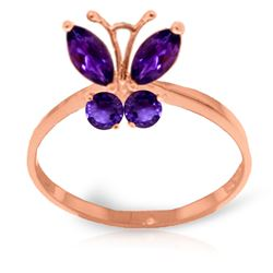 ALARRI 0.6 Carat 14K Solid Rose Gold Butterfly Ring Natural Purple Amethyst