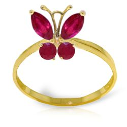 ALARRI 0.6 CTW 14K Solid Gold Butterfly Ring Natural Ruby