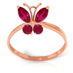 ALARRI 0.6 Carat 14K Solid Rose Gold Butterfly Ring Natural Ruby