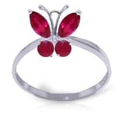 ALARRI 0.6 Carat 14K Solid White Gold Butterfly Ring Natural Ruby