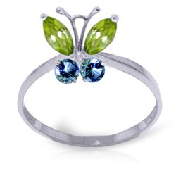 ALARRI 0.6 Carat 14K Solid White Gold Butterfly Ring Peridot Blue Topaz