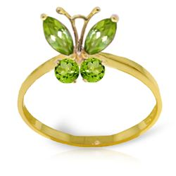 ALARRI 0.6 Carat 14K Solid Gold Butterfly Ring Natural Peridot