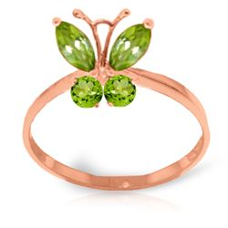 ALARRI 0.6 Carat 14K Solid Rose Gold Butterfly Ring Natural Peridot